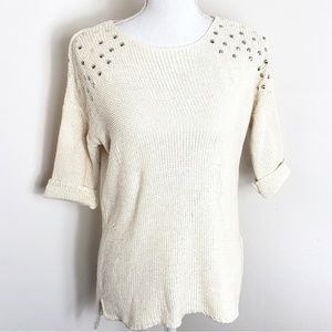 Topshop Studded Hi-Lo 3/4 Sleeve Sweater